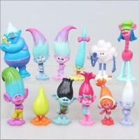 12Pcs set Movie Trolls Poppy Branch Action Figures Cake Toppers Doll Toy Gifts