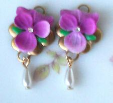Vintage Pansy Charms Flower Rhinestone Dangle Drops Pendant Pink Pansies NOS