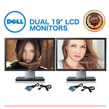 """Matching DUAL Dell, HP, Samsung, NEC, more 19"""" LCD Monitors Gaming w/ cables"""
