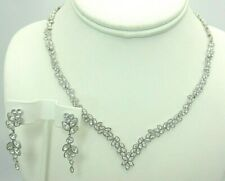 "Swarovski Crystal Necklace and Matching Earring Set 16 -16.75"" Bridal Wedding"