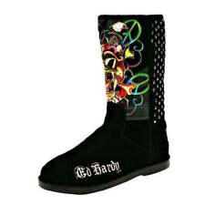 New in Box Ed Hardy Mid high Bootstrap BOOTS Flats Shoes Black Suede Studs Skull