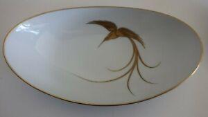 vintage HEINRICH Germany handpainted GOLD BIRD oval SERVING DISH - BOWL
