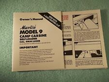 Marlin Model 9 Camp Carbine OWNER'S MANUAL, dated 6/89, 9 pages of information