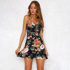 Boho Floral Women Sleeveless Short Mini Dress Casual Party Summer Beach Sundress