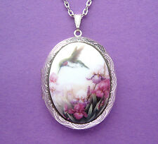 Porcelain HUMMINGBIRD & IRIS CAMEO ST Locket Pendant Necklace for Birthday Gift