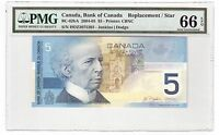 Canada $5 2004-05 BC-62bA PMG Gem UNC 66 EPQ Replacement / Star