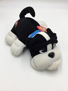 Vintage Pound Puppies Barking Black and White Bulldog J558 Plush Stuffed Animal