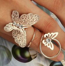 FASHION GOLD BUTTERFLY LONG ADJUSTBL FINGER RING HAND JEWLRY WOMEN ACCESORY GIFT