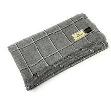 Pure Wool Tweed Blanket/Bedspread/Throw Light Grey Windowpane Check 1849/7