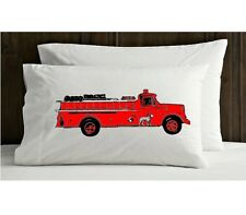 One (1) Red vintage red Fire engine truck pillowcase FD firetruck man the pillow