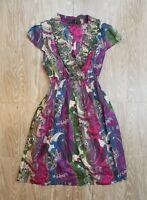 Tommy Hilfiger Women's Summer Dress Size M Paisley Cap Sleeve V Neck Pockets