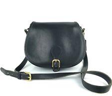 COACH Vintage Black Leather Saddle Crossbody Bag #9851