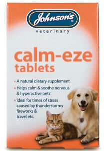 Johnsons Calm-Eze 72 Tablets (2x36) Nervous Soothes Hyper Active Dog Cat Remedy