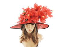 Red & Black Iris Ascot Formal Hat for Weddings, Ascot, Derby HC5