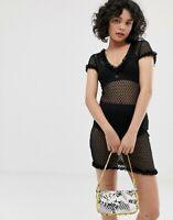 EMORY PARK Sheer Mini Dress in Polka Black SIZE M (UK 12)