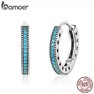 BAMOER Simple S925 Sterling Silve Stud earrings With Blue CZ For Women Jewelry