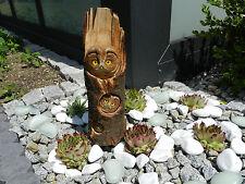 Eule im Holzstamm groß, Handgeschnitzte, Dekoration im Haus und Garten