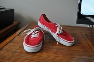 Vans Off The Wall Kids Youth Size 2 Red & White Canvas Skate Sneakers Shoes VGUC