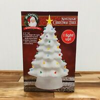 "Mr. Christmas 16"" LED Nostalgic Ceramic White Christmas Tree Light Up Retro New"