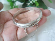 Sterling Silver -THAILAND 8.0mm Hand Engraved Floral Bangle 8.8g Bracelet 5.75""
