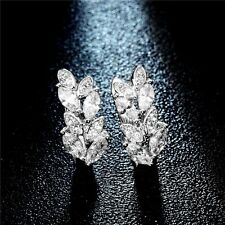Women 925 Silver Plated Leaf Crystal Hoop Huggie Earring Clip Jewelry