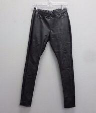 "HUE XS Black Vegan Leather Skinny Rocker Motorcycle Pants Stretch 29""Inseam"