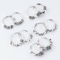 Unisex Gothic Silver Hoop Earrings Men's Women's Ear Stud Dangle Jewelry Gifts