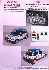 V183 AUTOBIANCHI A112 36° RALLYE MONTE CARLO 1976 CLAUDE LAURENT DECALS VIRATE