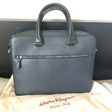 Salvatore Ferragamo Revival 3.0 Single Gusset Briefcase DARK GRAY Calf Skin NWT