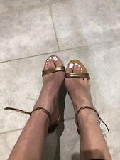 gold high heel sandals Size 5 UK