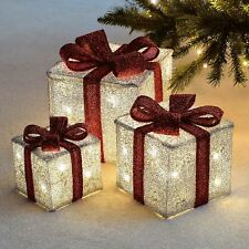 Set of 3 LED Light Up Decorative Coloured Christmas Parcel Gift Box Set Silver