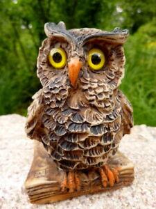 detailgetreue alte Tierfigur Eule Kauz Uhu 9 cm Cerrini Made in Italy handbemalt