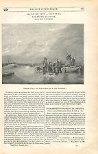 Une Pêche en Hiver Glace par Per Pehr Gabriel Wickenberg en Suède GRAVURE 1839