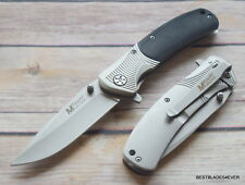 MTECH BLACK WOOD HANDLE FOLDING KNIFE WITH POCKET CLIP - 7.75 INCH