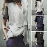 ZANZEA 8-24 Women Casual Short Sleeve Tie Up Cotton Top Tee T Shirt Wrap Blouse