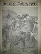 NORMANDIE ETRETAT DEBARQUEMENT YACHT PLAISANCE JOURNAL SOLEIL DU DIMANCHE 1895