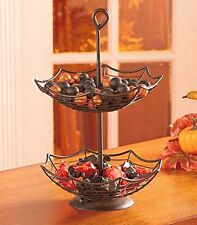 2 Tier Metal Basket Spider Web Bowl Treats Candy Holder Halloween Kitchen Decor