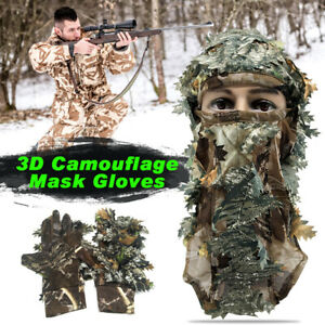 Camouflage 3D Mask&Gloves Leaf Ghillie Suit Face Mask Paintball Hunting Sniper