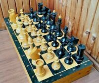 "3.74"" IN King Staunton Soviet BIG WOODEN CHESS Full SET+Board TOURNAMENT Vintage"