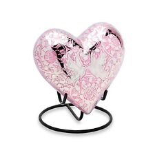 Small/Keepsake 3 Cubic Ins Pink Loving Doves Heart Cremation Urn for Ashes