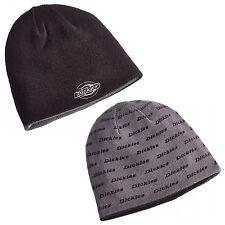 Dickies Reversible Printed Beanie Mens Branded Black Grey Hat HA8015