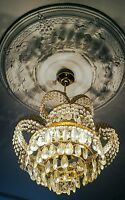 Lovely French style crystal and brass 3 lights basket chandelier