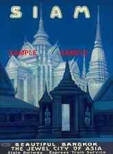 "Siam -  Bangkok, Thailand Jewel City of Asia Travel Poster  - 8.5"" X 11"""