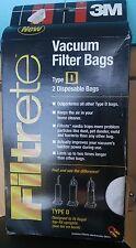 3M Royal Type D Filtrete  Vacuum Filter Bags Pack of 2 Bags NEW  B206