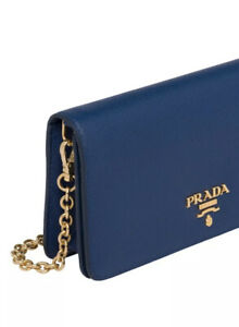 Prada wallet on chain saffiano lux- bluette / brand new/ crossbody / wristlet