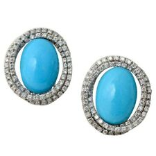 925 Sterling Silver Turquoise White Round CZ Classic Handmade Earrings for Women