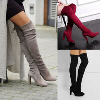 Womens Lady Over The Knee Boots Suede  High Heel Block Lace Thigh Shoes Size 3-5