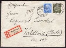 3973 GERMANY TO CHILE CENSORED REGISTERED COVER 1935 MAGDEBURG - VALDIVIA