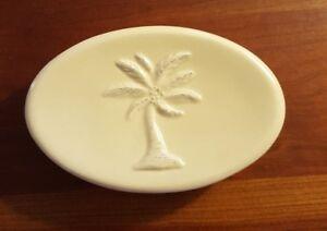"Tommy Bahama Sandy Palms Soap Dish Tan Porcelain Palm Trees 5.5 x 1.25 x 3.5"""