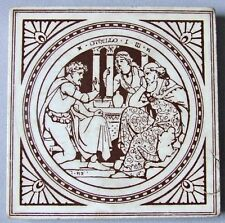 Moyr Smith Transferware Tile Minton China Victorian Trivet Shakespeare Othello